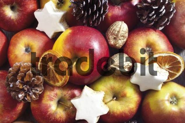 Christmas plate, format-filling: assortment of apples, walnuts, star-shaped cookies, candied oranges and pine cones