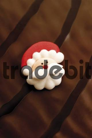 Santa Christmas sugar cookie on a chocolate icing cake