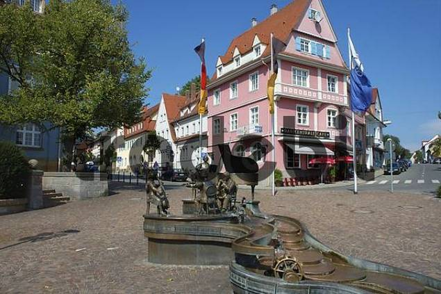 Musician Fountain, Donaueschingen, Baden-Wuerttemberg, Black Forest, Germany