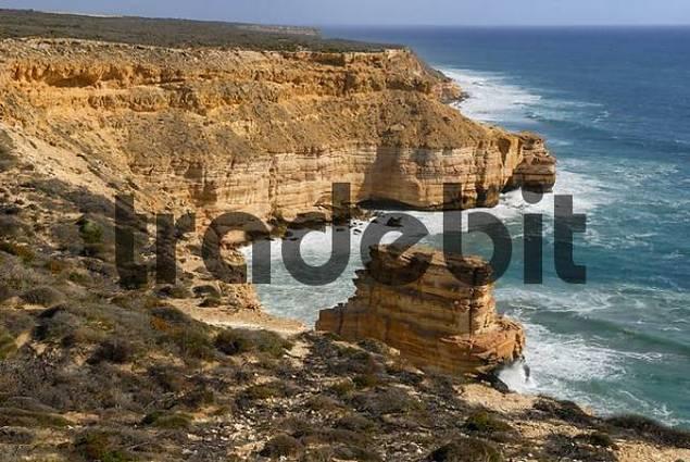 Cliffs along a rocky coastline, Island Rock, Kalbarri National Park, Western Australia, Australia