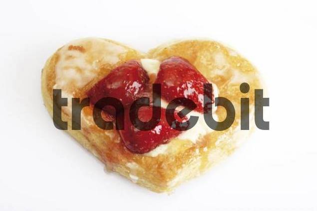 Heart-shaped strawberry pastries, puff pastry with custard and strawberries