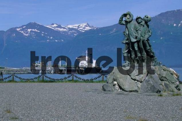 Oil loading port, statue in memory of the construction of the oil pipeline, Valdez on Prince William Sound, Alaska