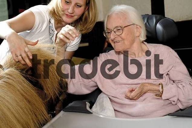 Senior woman petting a pony at an old-age home