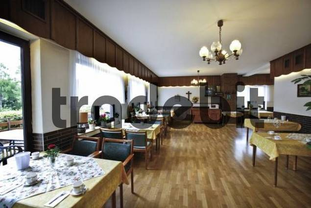 Set tables in the dining hall of a nursing home download for Dining hall pictures home