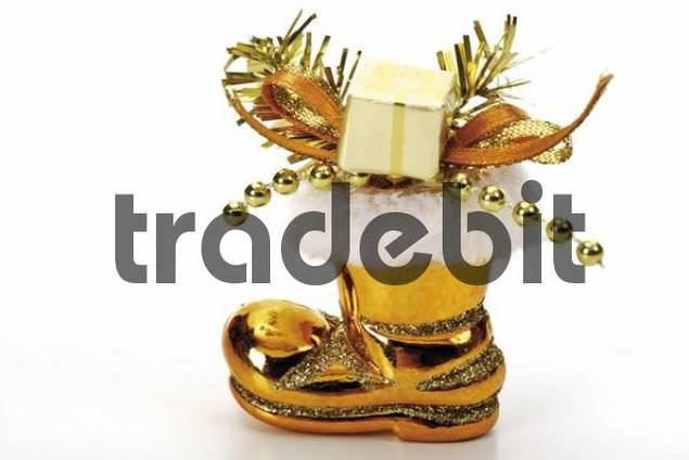Golden boot, present and ribbon Christmas tree ornament