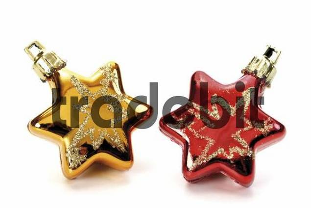 Red and golden star Christmas tree ornament