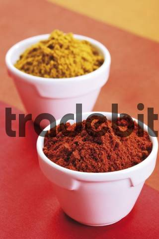 Paprika powder and curry powder in porcelain bowls