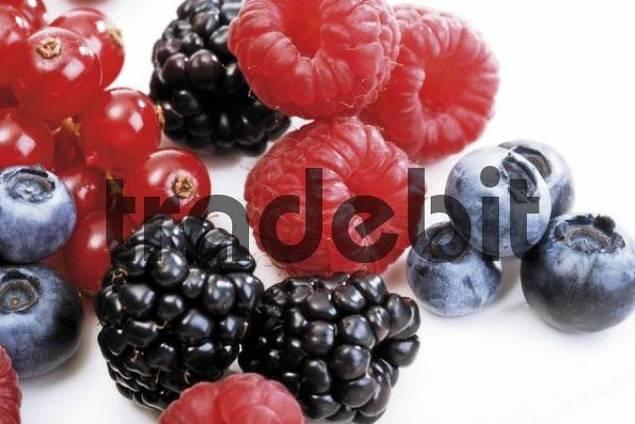 Mixed forest berries, blueberries, raspberries, blackberries, red currants