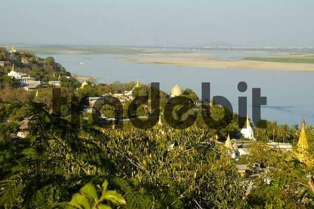 View on the monasteries and stupas with Ayeyarwady river of Sagaing from Shin Pin Nan Kain Stupa Mandalay Burma