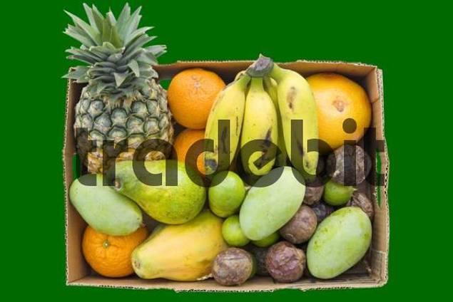 Organic tropical fruit in a cardboard box