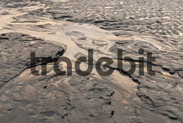 Stream running through the mud flats of Turnagain Arm, Cook Inlet, Alaska, USA