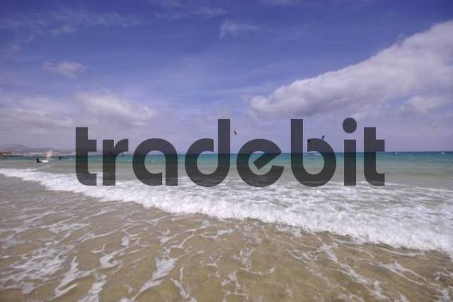 Kitesurfer, Playa de Sotavento beach, Jandia, Fuerteventura, Canary Islands, Spain, Europe