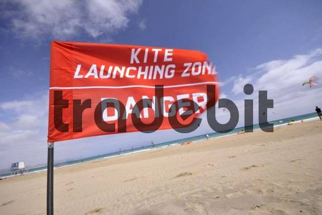 Red flag, danger, kite launching zone, Playa de Sotavento, Jandia, Fuerteventura, Canary Islands, Spain, Europe