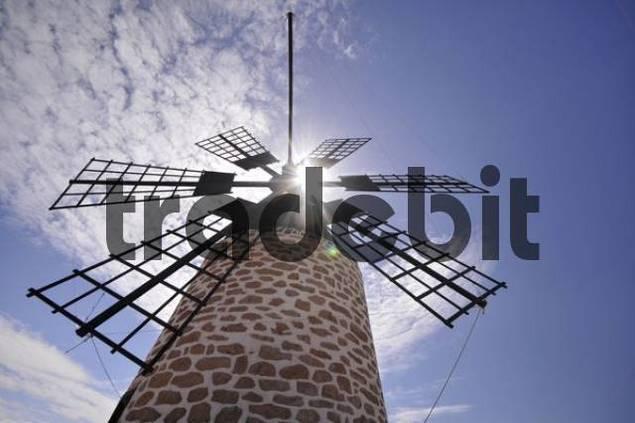 Old windmill near Tefia, backlit, Fuerteventura, Canary Islands, Spain, Europe