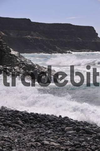 Volcanic rocks on the beach, Los Molinos fishing village, Fuerteventura, Canary Islands, Spain, Europe