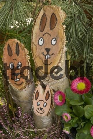 Easter basket, rabbit faces drawn on tree trunks, Waldviertel, Lower Austria, Europe