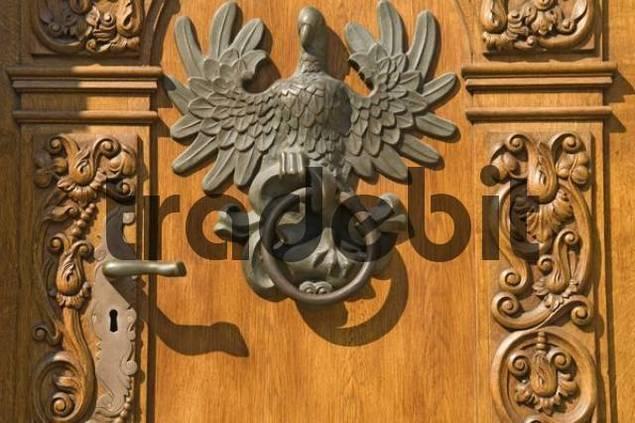Elaborate wooden door, community centre, Gdansk, Poland, Europe