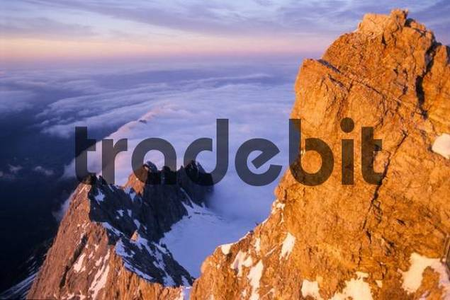 Mt. Waxenstein and cloud covered Hoellental Valley viewed from Mt. Zugspitze, Bavaria, Germany, Europe