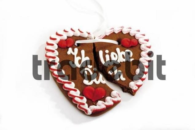 Broken gingerbread heart, Ich liebe Dich