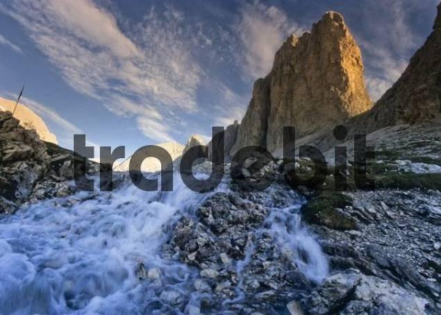 Mountain stream, Latemar, Catinaccio Massif, Bolzano-Bozen, Italy, Europe