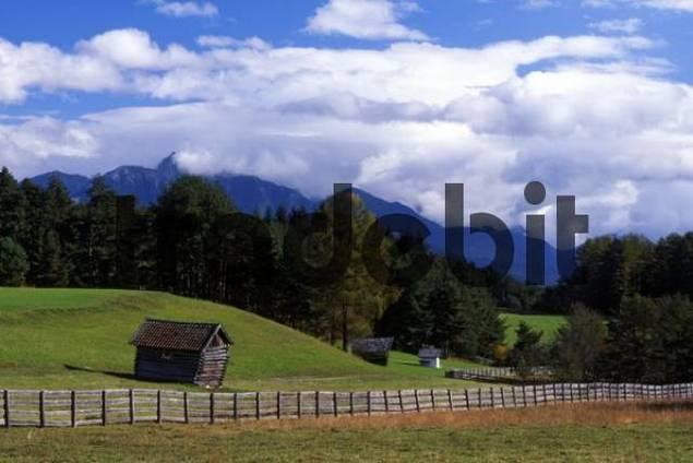 Cultivated landscape, Mieminger Plateau, Tyrol, Austria, Europe