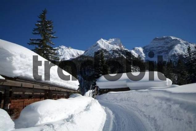 Winter landscape in Risstal, Riss Valley, Hagelhuette Hut, Karwendel Mountains, Tyrol, Austria, Europe