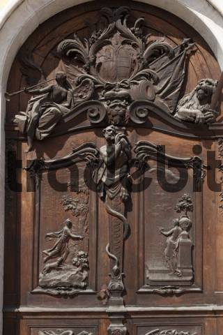 Door on the eastern facade, New Schleissheim Palace, Oberschliessheim, near Munich, Upper Bavaria, Germany, Europe