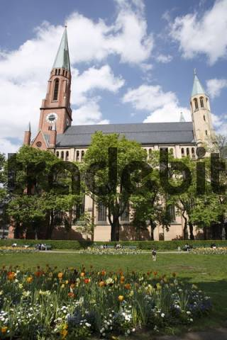 Johannisplatz in front of St. John the Baptist Church, Munich-Haidhausen, Bavaria, Germany, Europe