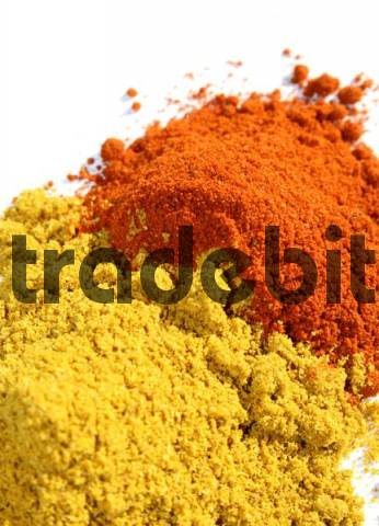 Spices, curry and bell pepper powder