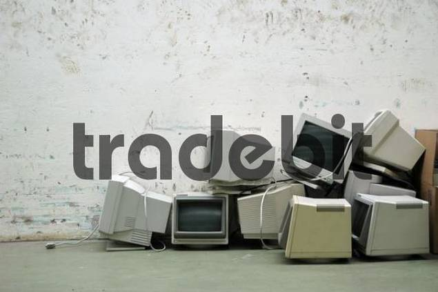 electronic scrap: old computer monitors