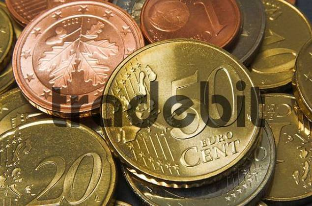 Close up of a fifty cents Euro coin