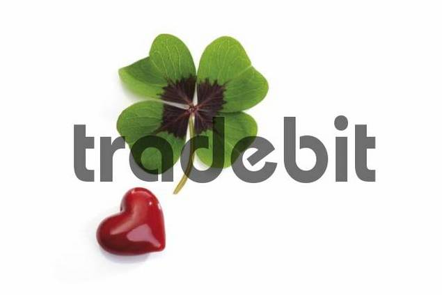 Four-leafed clover and heart