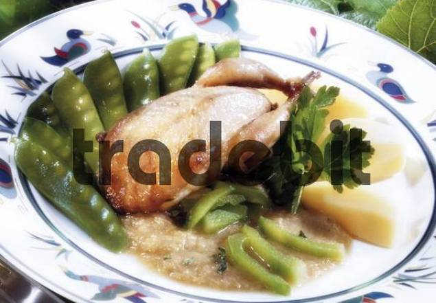 Fried partridge with sugar peas and celery