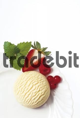 Scoop of vanilla ice cream with fruit