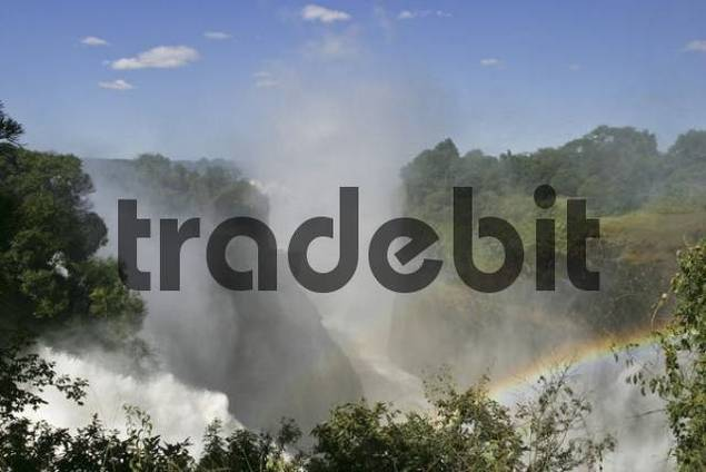 Waterfall with rainbow, Victoria Falls, Zimbabwe, Africa