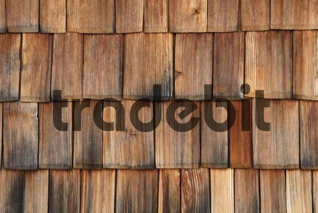 Handmade larch-wood shingles protected by a canopy on a farmhouse near Traunstein, Upper Bavaria, Germany, Europe