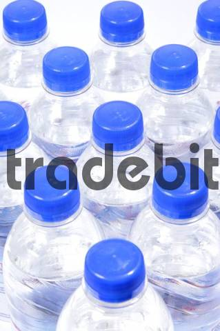 Mineral water in plastic PET bottles