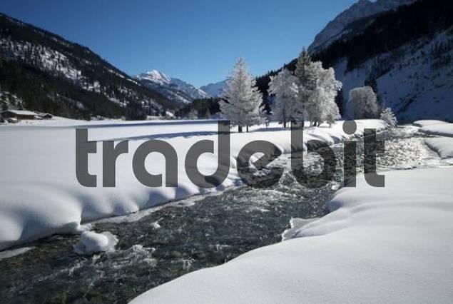 Risstal winter landscape, Hinterriss, Risstal, Karwendel, Tyrol, Austria, Europe