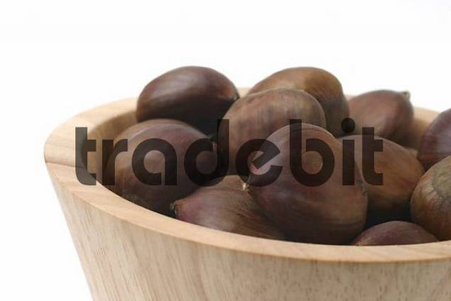 Chestnuts in wooden bowl