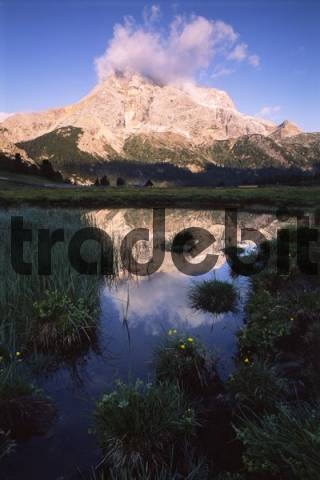 Hohe Gaisl Mountain reflected in a pond, Dolomite Mountain Range, South Tyrol, Italy, Europe