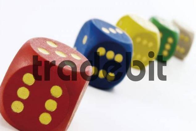 Coloured wooden dice