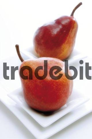 Red pears Red Bartlett on a plate