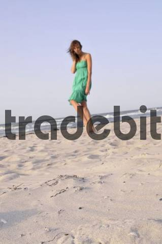 Young woman, 24, at the beach, portrait, Niendorf, Baltic Sea, Schleswig-Holstein, Germany, Europe
