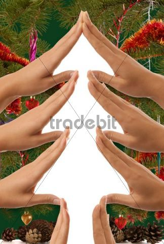 Conceptual Christmas tree symbol made from hands with christmas decoration