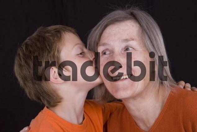 Grandma and grandson showing their affection