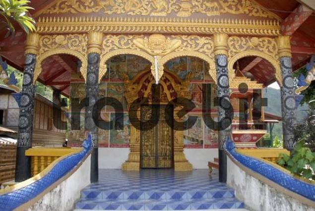 Colourfully decorated entrance area of the Wat Si Kun Buddhist Temple, Muang Khua, Phongsali province, Laos, Asia