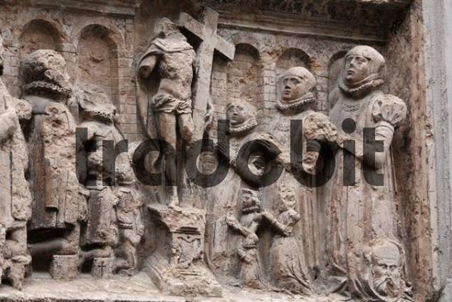 Epitaph on outside wall of Frauenkirche Cathedral, Munich, Bavaria, Germany, Europe