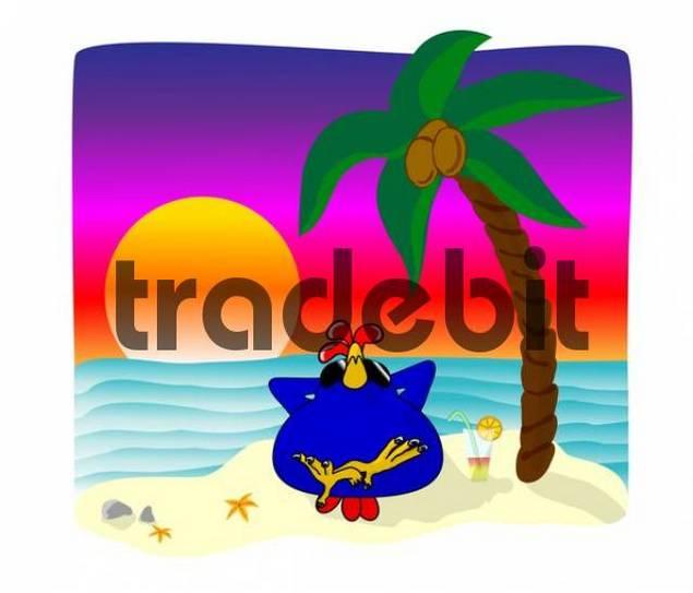 Chicken under a palm tree