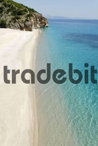 Steep coast and beach at Dhermi, Albanian Riviera, Ionian Sea, Albania, Europe
