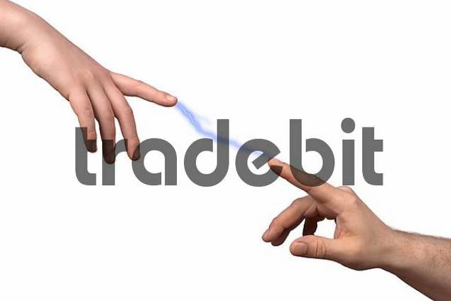 Touching fingers like in the famous painting by Michelangelo